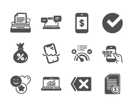 Set of Technology icons, such as Smile, Remove, Education, Typewriter, Internet chat, Smartphone payment, Financial documents, Verify, Loan, Online statistics, Smartphone waterproof. Vector Illustration