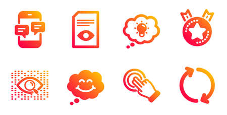 Touchscreen gesture, Ranking star and Smile line icons set. Phone messages, Artificial intelligence and Energy signs. View document, Refresh symbols. Click hand, Winner medal. Technology set. Vector