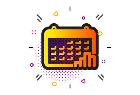 Column chart sign. Halftone circles pattern. Calendar graph icon. Growth diagram symbol. Classic flat calendar graph icon. Vector