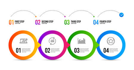 Bar diagram, Sales diagram and Update data line icons set. Timeline infographic. Loyalty star sign. Statistics infochart, Sale growth chart, Sales statistics. Bonus reward. Finance set. Vector Banque d'images - 132260398