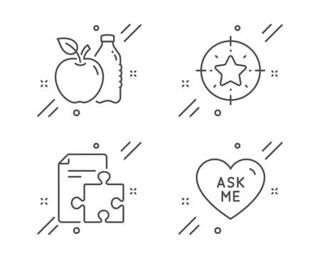 Star target, Apple and Strategy line icons set. Ask me sign. Winner award, Diet food, Puzzle. Love sweetheart. Line star target outline icon. Vector