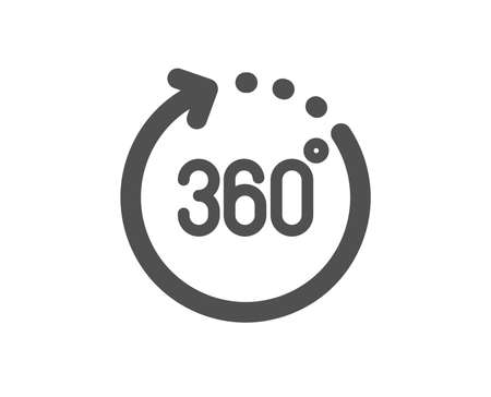 Panoramic view sign. 360 degrees icon. VR technology simulation symbol. Classic flat style. Simple 360 degrees icon. Vector