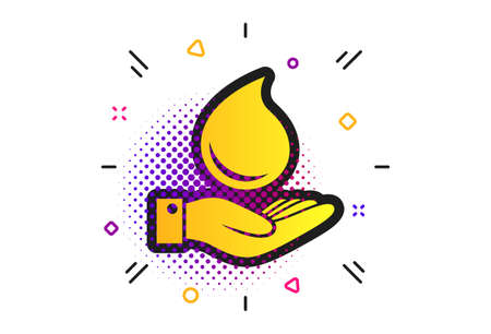Water drop and hand sign. Halftone dots pattern. Save water symbol. Classic flat drop icon. Vector