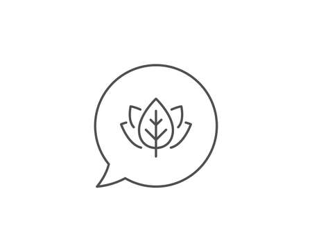 Organic tested line icon. Chat bubble design. Bio cosmetics sign. Fair trade symbol. Outline concept. Thin line organic tested icon. Vector