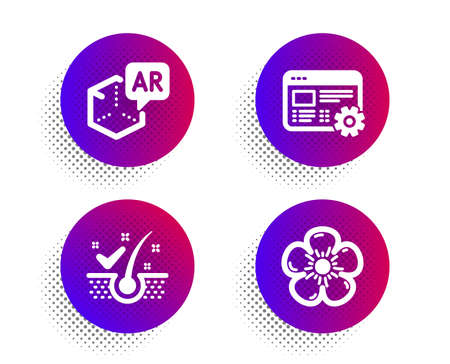 Augmented reality, Anti-dandruff flakes and Web settings icons simple set. Halftone dots button. Natural linen sign. Virtual reality, Healthy hair, Engineering tool. Organic tested. Vector Illustration