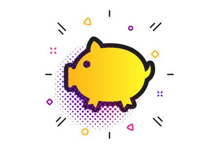 Piggy sign icon. Halftone dots pattern. Pork symbol. Classic flat piggy icon. Vector 向量圖像