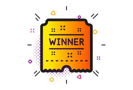 Amusement park award sign. Halftone circles pattern. Winner ticket icon. Classic flat winner ticket icon. Vector Illustration