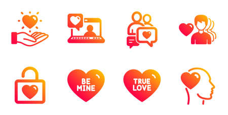 Man love, Dating chat and Friends chat line icons set. True love, Hold heart and Be mine signs. Wedding locker, Friend symbols. Romantic people, Sweet heart. Love set. Vector