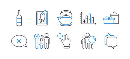 Set of Business icons, such as Reject, Teapot, Window cleaning, Move gesture, Repairman, Brandy bottle, Search people, Diagram graph, Gifts, Messenger line icons. Delete message, Tea kettle. Vector