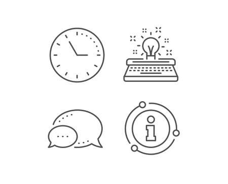 Typewriter line icon. Chat bubble, info sign elements. Creativity sign. Inspiration light bulb symbol. Linear typewriter outline icon. Information bubble. Vector