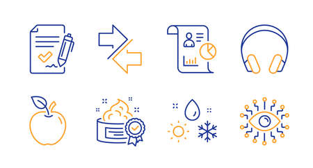 Cream, Weather and Approved agreement line icons set. Report, Headphones and Synchronize signs. Apple, Artificial intelligence symbols. Best lotion, Climate. Business set. Line cream icon. Vector