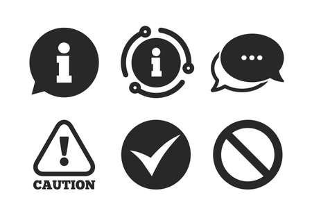 Stop prohibition and attention caution signs. Chat, info sign. Information icons. Approved check mark symbol. Classic style speech bubble icon. Vector Banco de Imagens - 132241714