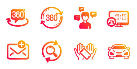 New mail, Full rotation and Conversation messages line icons set. Search, Report statistics and 360 degree signs. Smartphone holding, Car symbols. Add e-mail, 360 degree. Technology set. Vector