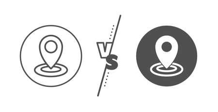 Map pointer sign. Versus concept. Location line icon. Line vs classic location icon. Vector Illustration