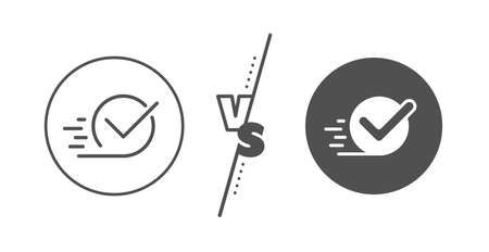 Accepted or confirmed sign. Versus concept. Approved line icon. Line vs classic checkbox icon. Vector