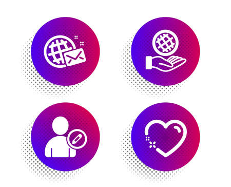 World mail, Safe planet and Edit user icons simple set. Halftone dots button. Heart sign. Chat, Ecology, Profile data. Love. People set. Classic flat world mail icon. Vector Illusztráció