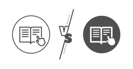Education with hand pointer symbol. Versus concept. Instruction Book line icon. E-learning sign. Line vs classic read instruction icon. Vector 向量圖像
