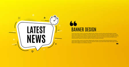 Latest news symbol. Yellow banner with chat bubble. Media newspaper sign. Daily information. Coupon design. Flyer background. Hot offer banner template. Bubble with latest news text. Vector Ilustração