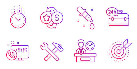 Presentation time, 24h service and Spanner tool line icons set. Chemistry pipette, Web call and Loyalty points signs. Time, Target purpose symbols. Report, Support. Business set. Vector