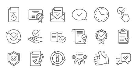 Approve line icons. Checklist, Certificate and Award medal. Thumbs up certified document linear icon set. Quality line set. Vector