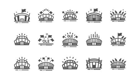 Sports stadium icons. Ole chant, arena football, championship architecture. Arena stadium, sports competition, event flag icons. Sport complex Classic set. Quality set. Vector