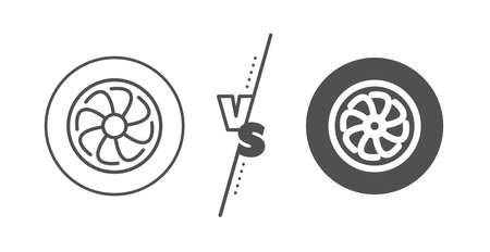 Jet turbine sign. Versus concept. Fan engine line icon. Ventilator symbol. Line vs classic fan engine icon. Vector
