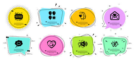 Fastpass, Smile and Balloon dart line icons set. Chat bubbles with quotes. Heart, Piggy sale and Sale megaphone signs. Yummy smile, Love letter symbols. Entrance ticket, Comic chat. Vector