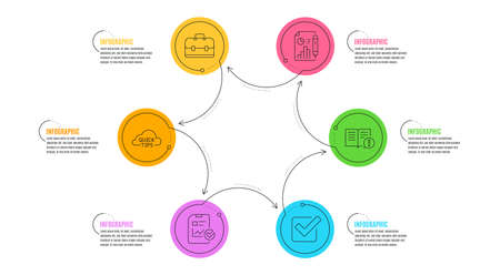 Checkbox, Report document and Quick tips signs. Infographic timeline. Report checklist, Facts and Portfolio line icons set. Sales growth file, Important information, Business case. Vector