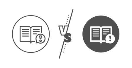 Exclamation mark sign. Versus concept. Interesting facts line icon. Book symbol. Line vs classic facts icon. Vector