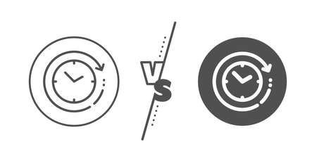 Clock sign. Versus concept. Time change line icon. Watch symbol. Line vs classic time change icon. Vector