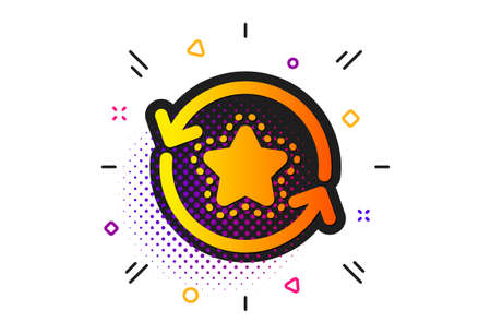 Change bonus points. Halftone circles pattern. Loyalty star icon. Discount program symbol. Classic flat loyalty points icon. Vector