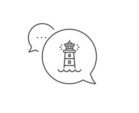Lighthouse line icon. Chat bubble design. Searchlight tower sign. Outline concept. Thin line lighthouse icon. Vector