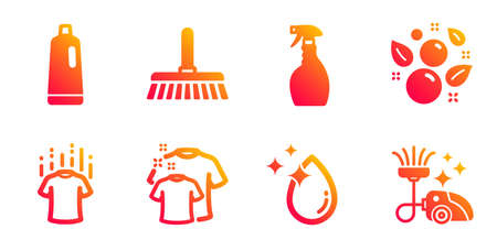 Spray, Water drop and Dry t-shirt line icons set. Clean bubbles, Clean t-shirt and Shampoo signs. Cleaning mop, Vacuum cleaner symbols. Washing cleanser, Crystal aqua. Cleaning set. Vector