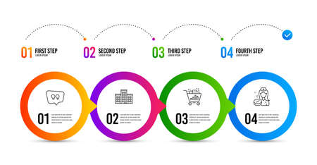 Company, Seo shopping and Quote bubble line icons set. Timeline infographic. Nurse sign. Building, Analytics, Chat comment. Medicine pill. Business set. Company icon. Timeline diagram. Vector Banco de Imagens - 132260810
