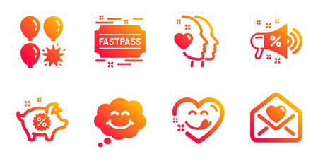 Fastpass, Smile and Balloon dart line icons set. Heart, Piggy sale and Sale megaphone signs. Yummy smile, Love letter symbols. Entrance ticket, Comic chat. Holidays set. Vector