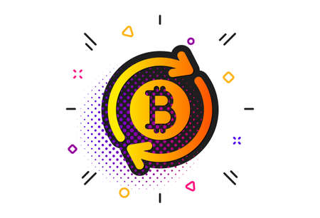 Refresh cryptocurrency coin sign. Halftone circles pattern. Bitcoin icon. Crypto money symbol. Classic flat refresh bitcoin icon. Vector 向量圖像