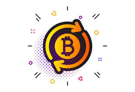 Refresh cryptocurrency coin sign. Halftone circles pattern. Bitcoin icon. Crypto money symbol. Classic flat refresh bitcoin icon. Vector Ilustração