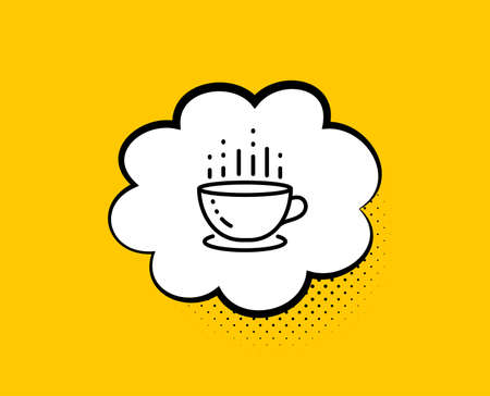 Coffee cup line icon. Comic speech bubble. Hot tea drink sign. Hotel service symbol. Yellow background with chat bubble. Coffee cup icon. Colorful banner. Vector