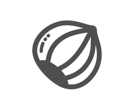 Tasty nut sign. Hazelnut icon. Vegan food symbol. Classic flat style. Simple hazelnut icon. Vector
