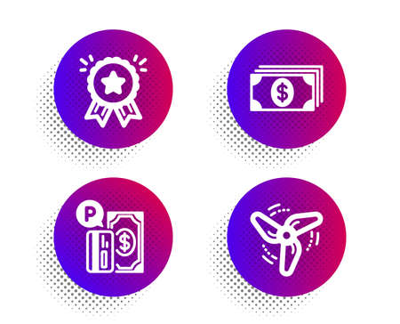 Loyalty award, Banking and Parking payment icons simple set. Halftone dots button. Wind energy sign. Bonus medal, Money payment, Paid garage. Ventilator. Finance set. Vector