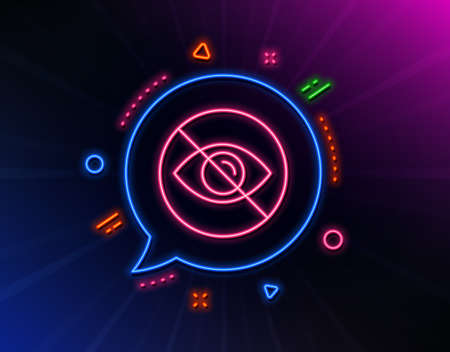 No eye line icon. Neon laser lights. Not looking sign. Optometry vision care symbol. Glow laser speech bubble. Neon lights chat bubble. Banner badge with not looking icon. Vector