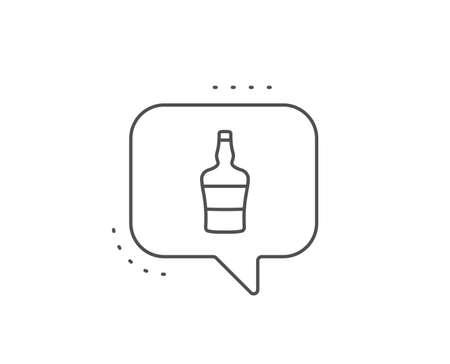 Scotch bottle line icon. Chat bubble design. Brandy alcohol sign. Outline concept. Thin line scotch bottle icon. Vector