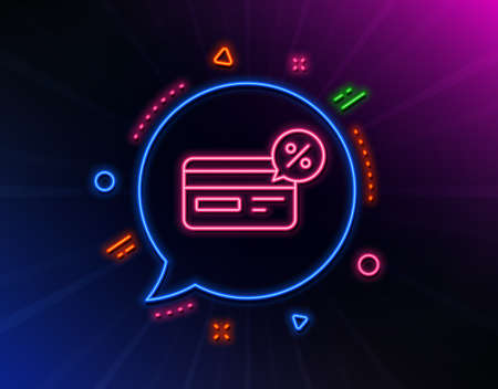 Credit card line icon. Neon laser lights. Banking Payment card with Discount sign. Cashback service symbol. Glow laser speech bubble. Neon lights chat bubble. Banner badge with cashback icon. Vector