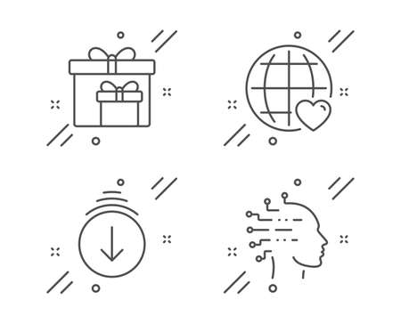 International love, Scroll down and Delivery boxes line icons set. Artificial intelligence sign. Internet dating, Swipe screen, Birthday gifts. Mind intellect. Vector