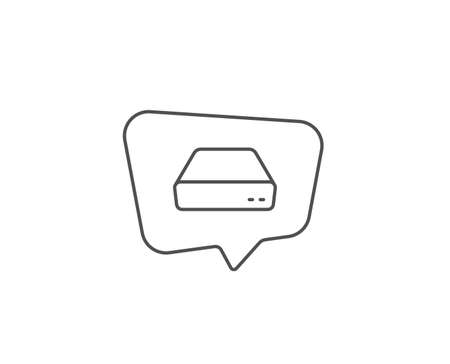 Mini pc line icon. Chat bubble design. Small computer device sign. Outline concept. Thin line mini pc icon. Vector 일러스트