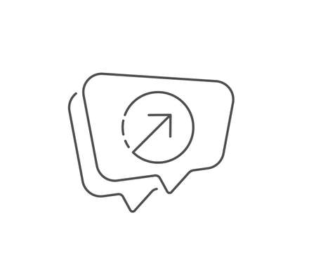 Direction arrow line icon. Chat bubble design. Arrowhead symbol. Navigation pointer sign. Outline concept. Thin line direction icon. Vector Ilustração