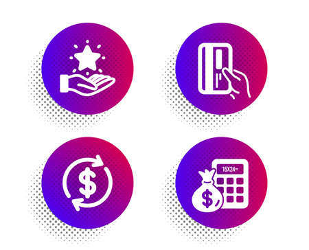 Payment card, Loyalty program and Dollar exchange icons simple set. Halftone dots button. Finance calculator sign. Credit card, Bonus star, Banking rates. Calculate money. Finance set. Vector