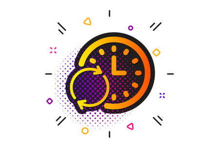 Update clock or Deadline symbol. Halftone circles pattern. Time icon. Time management sign. Classic flat update Time icon. Vector