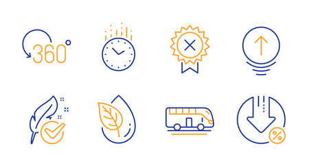 Reject medal, Hypoallergenic tested and Time line icons set. Bus tour, Swipe up and Organic product signs. Full rotation, Loan percent symbols. Award rejection, Feather. Technology set. Vector