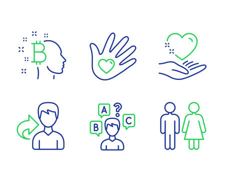 Social responsibility, Hold heart and Bitcoin think line icons set. Share, Quiz test and Restroom signs. Helping hand, Care love, Cryptocurrency head. Male user. People set. Vector